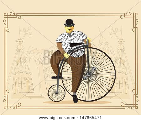 Gentleman cyclist in a flat design. City style fat elegant man riding on a old bicycle flat cartoon vector illustration. Eps10.