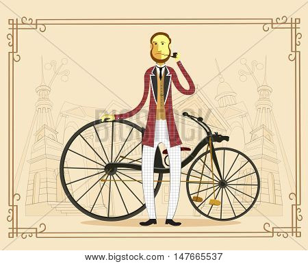 Retro gentleman with mustaches on a bicycle on old city background. Vintage Man and bicycle flat cartoon vector illustration. Eps10.