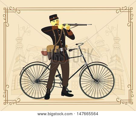 Military man and bicycle.  Retro man and  vintage bike flat cartoon vector illustration. Eps10.