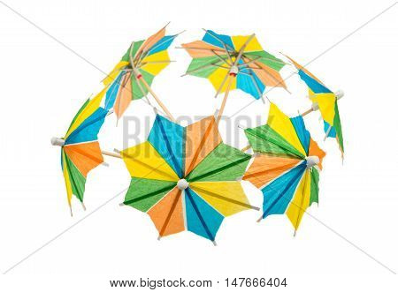 Cocktail umbrellas isolated on a white background