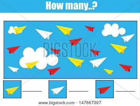 Counting educational children game, kids activity sheet. How many objects task. Learning mathematics, numbers, addition theme. Vector.