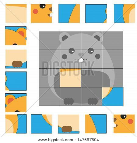 Educational puzzle game for children. Kids activity sheet with hamster character, restore the picture with mosaic pieces