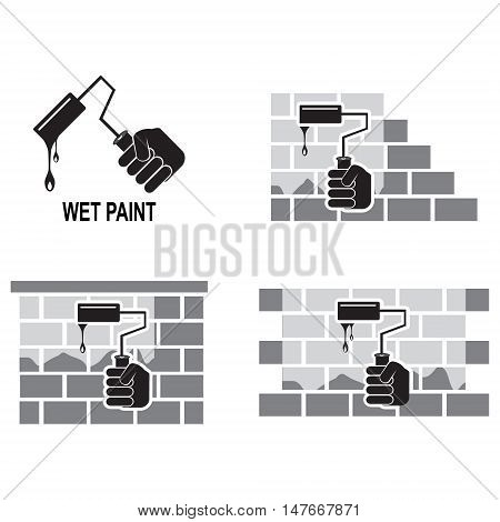 Paint roller brush and wall working tool icon wet paint icon