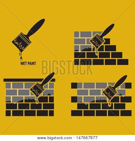 Paint brush and wall working tool icon wet paint icon