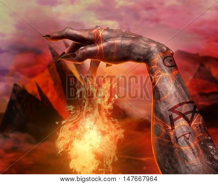 3D illustration of a demonic hand spell first person view. 3d first person view demonic hand casting fireball spell with pentacle glowing signs on hellish landscape background.