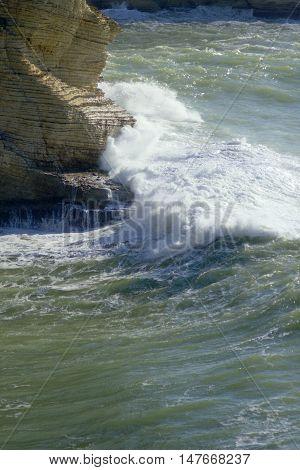 Splash of water. Storm on the sea in Beirut, Lebanon