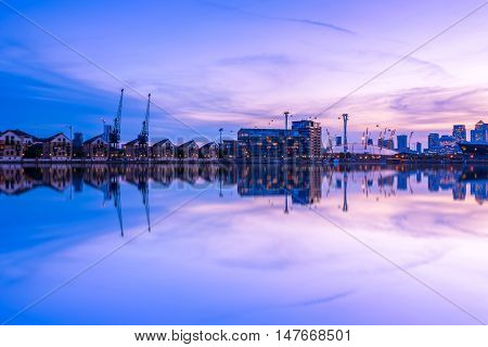 Royal Victoria Dock In London At Sunset