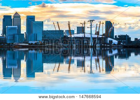 Cityscape With Canary Wharf At Sunset