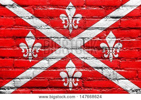 Flag Of Floresti, Moldova, Painted On Brick Wall