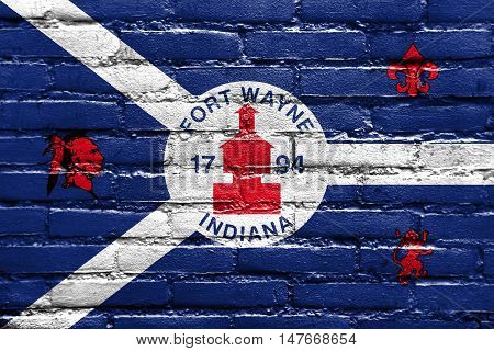 Flag Of Fort Wayne, Indiana, Usa, Painted On Brick Wall