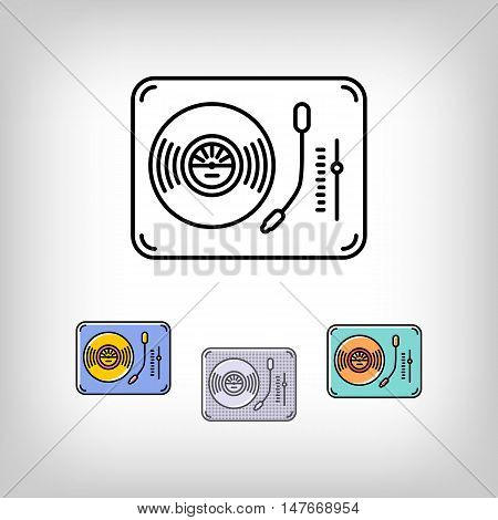 Turntable isolated logo vector illustration. Modern art thin line of the vinyl record turntable icon, music symbol flat design