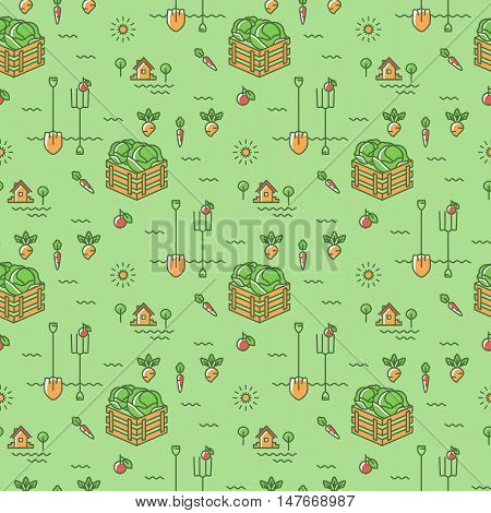 Vegetables garden seamless pattern. Agriculture, cultivation of vegetables background. Minimal design, thin line art icons. Colorful symbols on a green background, vector illustration