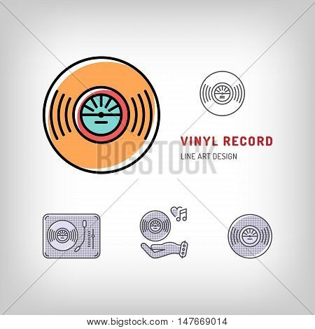 Vinyl record isolated logo vector illustration. Modern art thin line of the vinyl record turntable icon, music symbol flat design