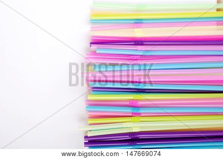 Closeup od a colorful plastic drinking straws