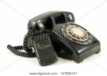Pictures of an older analog type telephone