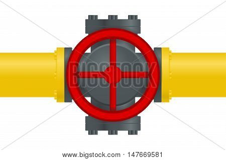 Pipe round valve. Vector illustration isolated on white background