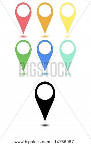 Set of flat desing map points on white background