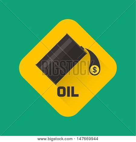 Flank badge with oil and the falling drop with a dollar symbol. A vector illustration in flat style.