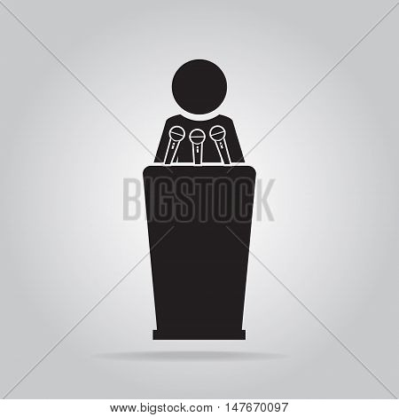 Man standing with podium and microphones icon press conference interview meeting concept
