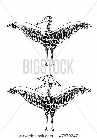 Crane cartoon on a white background. Stork  cartoon illustration. Isolated bird.