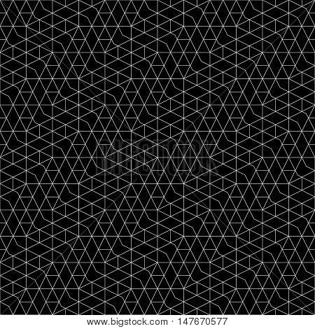 Seamless pattern. Abstract geometrical background. Original linear texture with repeating thin broken lines polygons difficult polygonal shapes rhombuses triangle. Monochrome. Black. White.