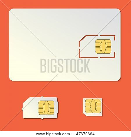 Sim card empty vector set. Cell phone standard and micro chip.