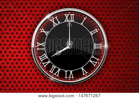 Round clock with roman numerals on red perforated background. Vector illustration