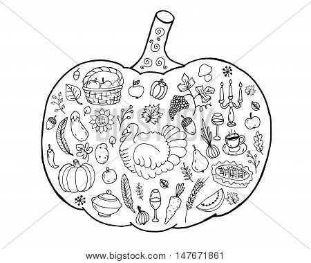 Pumpkin. Hand drawn doodles. Traditional symbol of Thanksgiving Halloween autumn. Sketch for coloring page decoration poster print