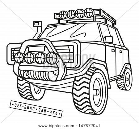 Stock vector illustration off-road car. Thin line style. Isolated on white background