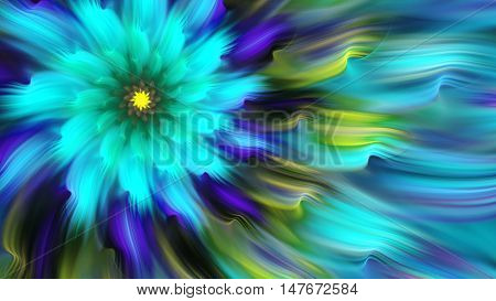 Exotic flower. Dance of flower petals. 3D surreal illustration. Sacred geometry. Mysterious psychedelic relaxation pattern. Fractal abstract texture. Digital artwork graphic astrology magic