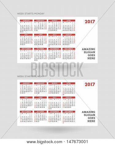 Calendar For 2017 Year. Vector Design Print Template. Week Starts Monday And Week Starts Sunday Vers