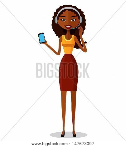 Support phone operator. Woman with smart phone. Customer support flat cartoon vector illustration. Eps10. Isolated on a white background.