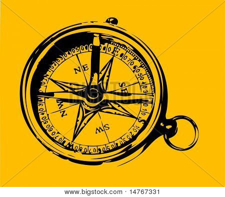 Old style compass (vector)