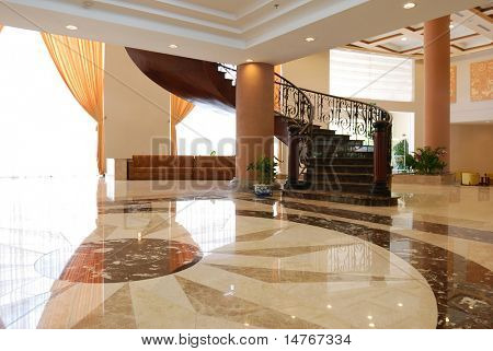 Luxury hotel lobby room interior
