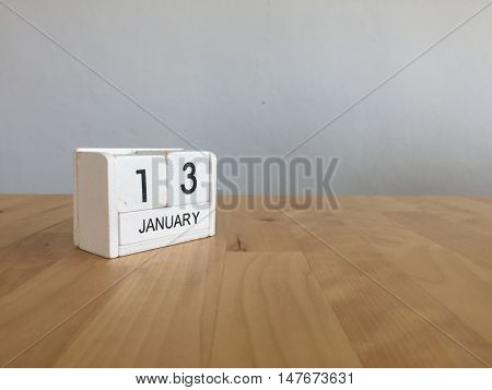 January 13Th.january 13 White Wooden Calendar On Wood Background.copyspace For Text.