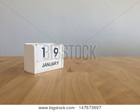 January 19Th.january 19 White Wooden Calendar On Wood Background.copyspace For Text.