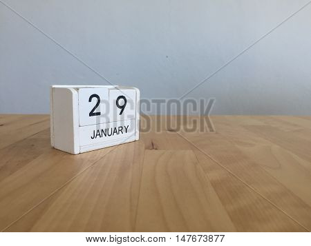 January 29Th.january 29 White Wooden Calendar On Wood Background.copyspace For Text.