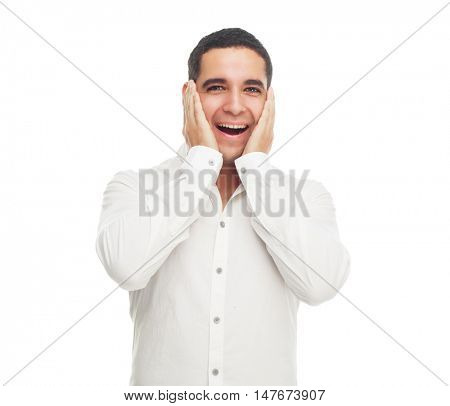 surprised young man, isolated against white studio background