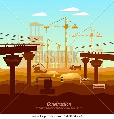 Construction bridge construction site surise under professional construction vector