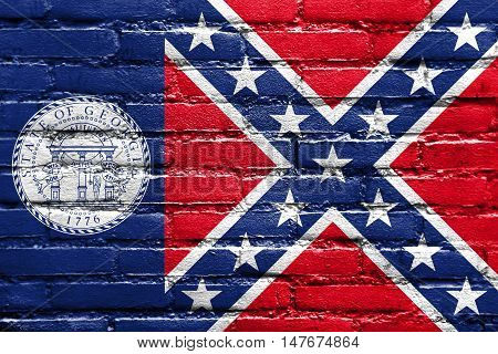 Flag Of Georgia State (1956-2001), Usa, Painted On Brick Wall