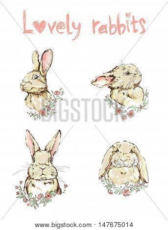 lovely rabbits vector, vector illustration of a cute bunny, set rabbits illustration