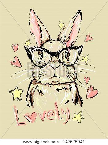 Hand Drawn Vector Illustration of Bunny. Vector rabbit