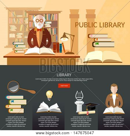 Public library infographic elements students read librarian professor library interior with people reading vector flat illustration