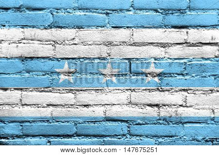 Flag Of Guayaquil, Ecuador, Painted On Brick Wall