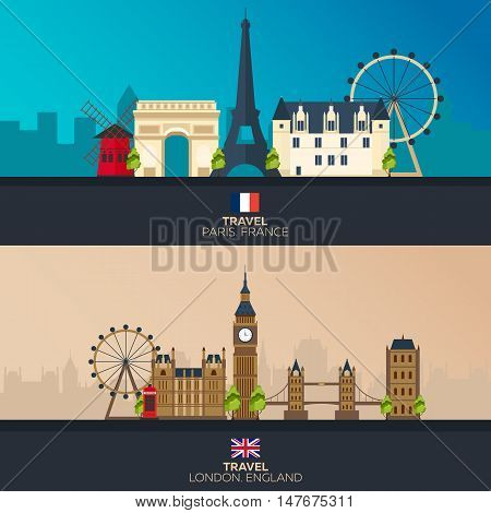 France and England. Tourism. Travelling illustration Paris city and London. Modern flat design. Paris skyline. London skyline. Set travel illustration