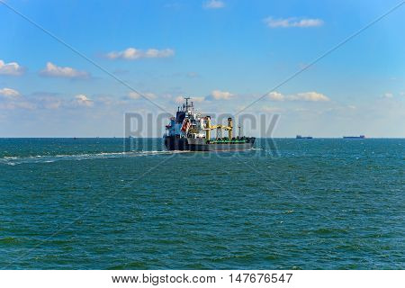 Cargo ship crosses the Strait of Kerch