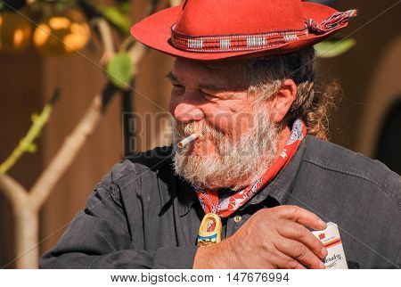 Senior Dutch Man Tradition Dressed Smoking A Cigarette
