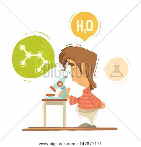 School chemistry lesson colorful vector illustration. Young schoolboy boy child kid pupil holding using microscope. Isolated on white background.