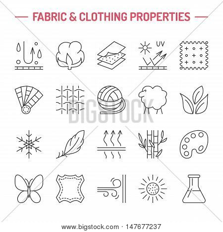 Vector line icons of fabric feature garments property symbols. Elements - cotton wool waterproof uv protection. Linear wear labels textile industry pictograms for clothes.