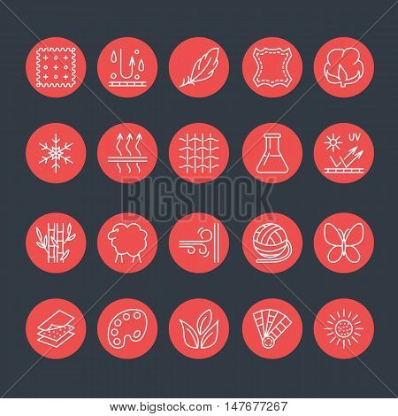 Vector line icons of fabric feature garments property symbols. Elements - cotton wool waterproof uv protection. Linear wear labels textile industry pictogram for clothes.
